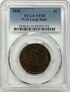 1840 Braided Hair Large Cent PCGS VF20 N-10 Large Date