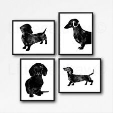 Black Dachshund Sausage Dog Set Of 4 Watercolour Painting PRINT 5x7 Wall Art