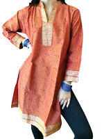 Boho Gypsy Hippy Orange Long Tunic Dress Cotton,House Dress,Casual Kurti M