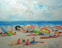 "Listed Nino Pippa Original Oil Painting French Riviera Beach Scene 14""X18"" COA"