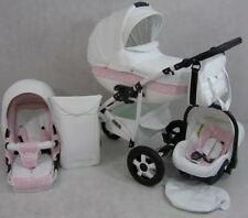 Neu LUXUS Kombi Kinderwagen CLEO Autositz 3 in 1 Komplettset Weiß/Rosa