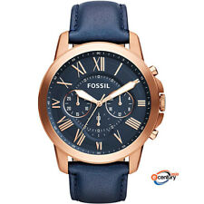 Fossil FS4835 Men's Quartz Grant Chronograph Blue Leather Strap Watch