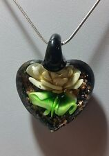 Murano Glass Gold Flower Heart Pendant on 925 Sterling Silver Necklace#Valentine