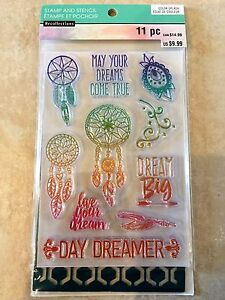 Recollections Dreamcatcher Color Splash Clear Acrylic Stamp & Stencil Set NEW