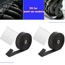 "2 Roll 2"" x 50ft Thermal Header Pipe Tape Exhaust Wrap & 20 Ties Kit Fiberglass"
