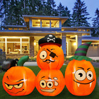 5ft Halloween Inflatables 4 Pumpkins Combo with Wizard HAT & Skull Blow Up Decor