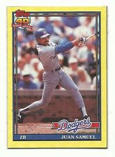 1991 Topps Box Bottom Card Juan Samuel Los Angeles Dodgers #O