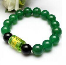 "Beautiful Stretchy 17 10mm Green Jade Black Agate Prayer Bead Mala Bracelet -6"""