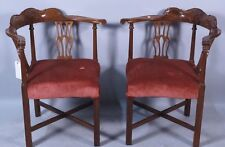 Matching Pair of Antique Georgian-Style Corner Chairs