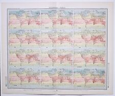 1899 LARGE WEATHER METEOROLOGY MAP ISOTHERMS WORLD SHOWING YEAR TEMPERATURE