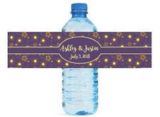 Glowing Stars on Purple Wedding Anniversary Birthday Water Bottle Labels