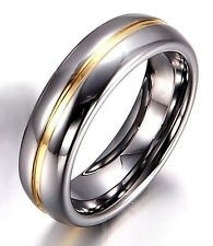 Tungsten Carbide Womens Center Gold Grey Silver 6MM Wedding Band Ring M88