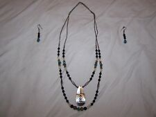 MyEMPORIUM- Silver Turquoise Onyx-Mother of Pearl Necklace-w/ Turquoise Earrings