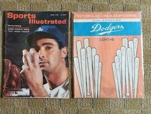 Vintage L.A. Dodgers 1964 Scorecard, 1963 Sports Illustrated-Koufax, lot of 2