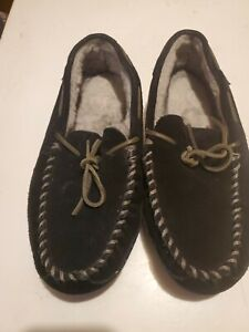 LL BEAN MEN'S  BLACK SLIPPERS WITH FUR LINING~SIZE 9M