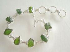 Armband mit rohem grünem Turmalin - 925er Silber - Grün -