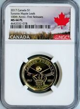 2017 CANADA TORONTO MAPLE LEAFS $1 LOONIE NGC MS66PL First Releases