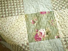Shabby Chic Throw Bedspread Coverlet Set Quilt Green Pink White Universal
