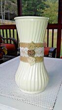 Farmhouse Burlap Rose Flower White Painted Glass Vase Custom Design