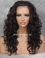 HEAT SAFE Thick Wavy Curly Lace Front Wig Long Dark Brown IS 4