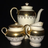 Vintage Atlas China Coffee/Teapot Creamer and Sugar Bowl 22 Karat Gold Set