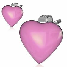 Stainless Steel 2 tone Pink Love Heart Stud Earrings Pair Leb470