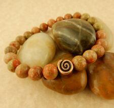 Men's stretch Copper Celtic Spiral beaded bracelet w/ 8mm Autumn Jasper beads