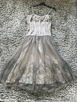 Karen Millen Grey Silver Fancy Corset Boned Dress Tulle Skirt 12 New Year Party