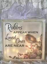 LED Glass Light Up Block Robins Appear When Loved Ones Are Near Quote Xmas Robin
