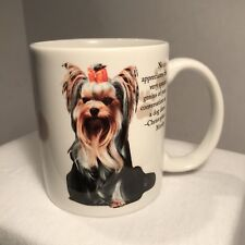 Yorkie Coffee Mug Silkie w/ Red Hair Bow White Cup by Barbara Augello Encore
