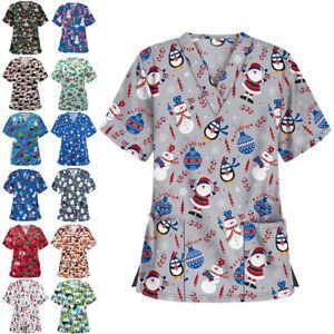 Women Christmas Print Scrubs V Neck Top Work Uniform Casual Nurse Blouse T-shirt