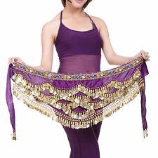 US2 Womens Belly Dance Hip Scarf Dancing Coins Waist  Belt Chain Skirt wave Wrap