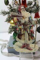 alte Oblate Weihnachtsmann mit Spielzeug Klimmer  12cm