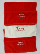 """3 """" Merry Christmas """" Hand Towels 2 Red & 1 White 16"""" x 24"""""""