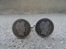 Barber Dime Cufflinks -- Coin Sterling Silver Money American Jewelry