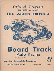1948 Bill White Presents AAA Board Track Auto Racing Program From Los Angeles