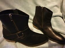 Firetrap low heel black leather buckle ladies ankle boots uk8 BNWT