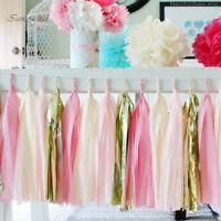10*DIY Tissue Paper Tassels Bunting Wedding Garland Lantern Pompoms Decor