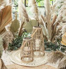 Bambus Windlicht-Set AJALA 2-tlg. Laterne Boho Chic Shabby Vintage Landhaus