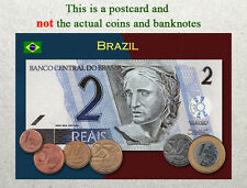 Postcard: Brazil Circulating Coins and Currency (Banknote) 2013