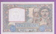 (Ref: T.040) 20 FRANCS SCIENCE ET TRAVAIL 7/12/1939 (NEUF-) TRÈS RARE