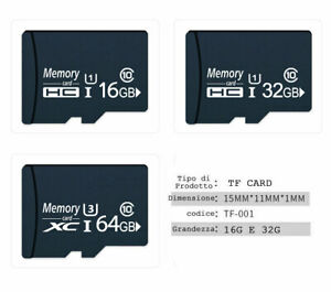 scheda di memoria memory card TF card con Adattatore 16G 32G 64G Class10 testato