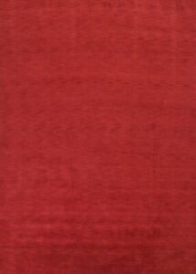 Contemporary Solid Red Gabbeh Oriental Hand-Knotted Modern Wool Area Rug 10'x13'