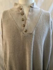 Vtg LL Bean Men 2XL Cableknit Commando Cotton Beige Henley Sweater USA
