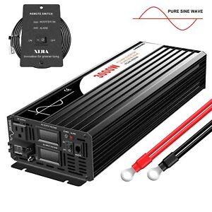 3000W Car Power Inverter 12V/24V/48V dc to 120 ac Pure Sine Wave Inverter Solar