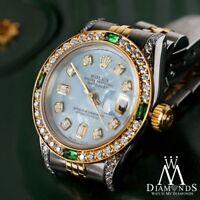 Ladies Rolex SS & Gold 26mm Datejust Baby Blue MOP 8+2 Diamond Emerald Watch
