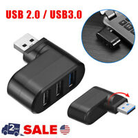 3 Port USB 2.0/3.0  Rotate Splitter Adapter Hub for PC Laptop Notebook Expansio
