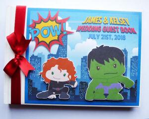 Personalised Hulk wedding guest book, superhero wedding guest book, album, gift