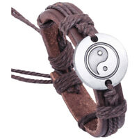 Tai Chi Yin and Yang Graph PU Leather Bracelet Deep Woven Brown V4P2