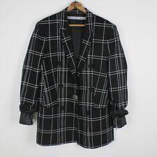 Alexander Wang Oversized Plaid Blazer Jacket Womens 10 Black Check Leather Cuff